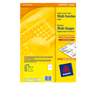 Avery Multifunction and Copier Labels 70 x 36mm 24 Labels Per Sheet Packs of 100 Sheets